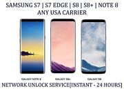 Samsung S7|s7edge|s8|s8+|note 8 All Usa Carriers Unlock Service - Remote Unlock.