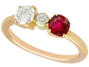 Vintage 0.64ct Diamond And Ruby 15k Yellow Gold Three-stone Engagement Ring