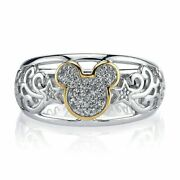 1/2 Ct 14k White Gold Natural Diamond Mickey Mouse Ring /easter Xmas Gift