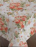 """Red Cabbage Roses Floral Cloth Tablecloth 60"""" X 104"""" Oblong"""