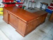 Office Desk And Credenza , Alma Company 100 Solid Walnut - Usa President Style