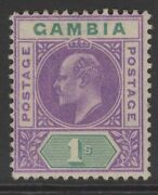 Gambia Sg67a 1905 1/= Violet And Green With Dented Frame Mtd Mint