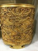 Top Pure Bronze Red Copper 100 Gold Carved Dragon Cup Box Brush Pot Statue
