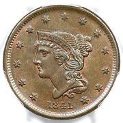 1841 N-6 Pcgs Ms 63 Bn Cac Braided Hair Large Cent Coin 1c