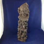 Ancient African Black Wood Ebony Hand Carved Tree Of Life Decorative Art Statue