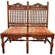 Antique Carved Wood Tripoli Lion Heads Edwardian Victorian Bench Chair Settee