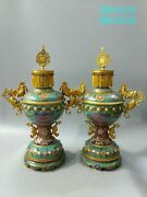 Pair 25and039and039 Bronze Red Copper Cloisonne Enamel Carved Dragon Fish Censer Statue