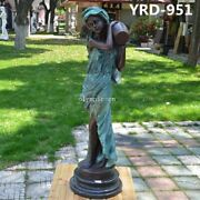 35and039and039 Bronze Sculpture Home Decorate A Women Girl Lady Hold Vase Statue