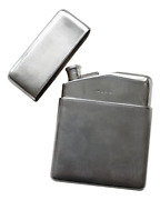 Antique - Solid Sterling Silver - Engine Turned Hip Flask - A Wilcox - 1939