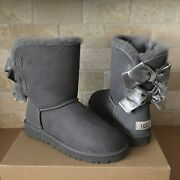Ugg Short Bailey Bow Ii Velvet Ribbon Charcoal Grey Suede Boots Size Us 7 Womens