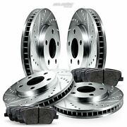 Full Kit Cross-drilled Slotted Brake Rotors Disc And Ceramic Pads For G20sentra