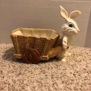 Vintage Ceramic Hobbyist Painted Easter Bunny Rabbit Cart Candy Dish Planter