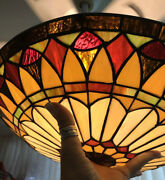 Vintage Stain Glass Lighting Disc 16andrdquo Inches Quoizel Collectibles Stunning