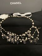 100 Authentic Gold And Black Charm And White Pearl Belt /necklace