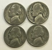 Silver War Nickels - Lot Of 4 - Different Coins 2 With Mint Errors  608