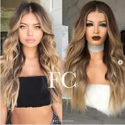 Human Hair Wig Ombre Balayage Blonde Wavy Remy Full Lace Wig Freedom Couture