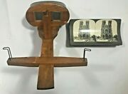 Scope Antique Vintage Wood Viewer And 22 Picture Slides With Stereo Cards