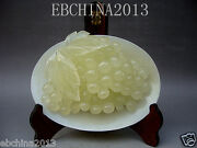 9chinese Culture Art Collection Handmade Carved A Dish Of Jade Statue Of Grapes