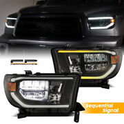 For 07-13 Tundra 08-17 Sequoia Trd Design Sequential Signal Full Led Headlights