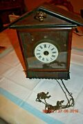 Antique/vintage Wall Clock With Wooden Movement For Project Or Parts