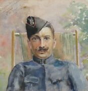 Antique French Watercolor Officer Soldier Wwi Prisoner Of War Signed 1916