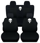 Front+back Car Seat Covers Black Punisher Skull Fits Jeep Compass/patriot 07-17