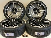 22 Wheels Rims Tires Fit Porsche Cayenne Macan Gts Turbo Style Black Machined
