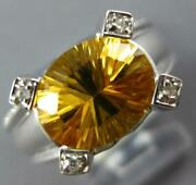 Estate Large 3.32ct Diamond And Aaa Citrine 18kt White Gold Oval And Round Fun Ring