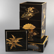 Antique Japanese Lacquer Folding Fan Makie Stacking Boxes Jubako With Stand