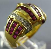 Large 3.65ct Diamond And Aaa Ruby 18kt Yellow Gold Princess Multi Row Crown Ring