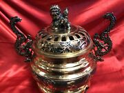 Chinese Vintage Brass Incense Burner With Dragons And Foo Dog Lion