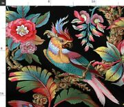 Edwardian Parrot Bright Black Tropical Bird Spoonflower Fabric By The Yard
