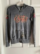 Xs Gray Sinful By Affliction Hoodie Sweatshirt Burnout Long Sleeve Glitter Rare