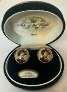 Swank Arts Of The World Hand Painted Delft Holland Ceramic Cufflinks Vintage