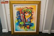 Original Alfred Gockel Cosmic Gecko On Canvas Signed And Framed Painting
