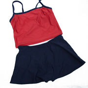 Maxine Of Hollywood 2-piece Tankini Swimsuit Sz 10 Red Blue Built-in Bra Skirt