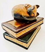 Siamese Cat Wood Carving Paperweight Sculpture Asleep On Books Hand Carved