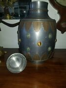 Art Nouveau Bronze Pewter Tigers Eye And Turquoise Urn