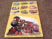 Melissa And Doug 2 Sound Puzzle Lot Train And Car Boat Airplane Trucks Noises