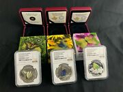 2013 2014 2015 1 Oz .999 Silver Proof 20 Butterflies Of Canada Ngc Pf70 69 Set