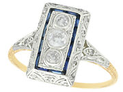 Antique Diamond And Sapphire 14k Yellow Gold Dress Ring 1920s Size 8.25