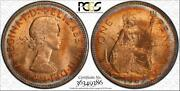 1967 Great Britain One Penny Bu Pcgs Ms63rb Circle Toned Coin In High Grade