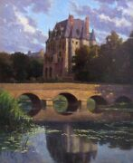 Vintage French Oil Painting Chandacircteau River Landscape Berry Region Signed 1936