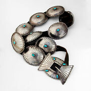 Native American Turquoise Concho Belt Ornate Buckle Sterling Silver Leather