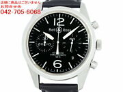 Bell And Ross Vintage Original Black Chronograph Br126-94-ss Watch Excellent+++