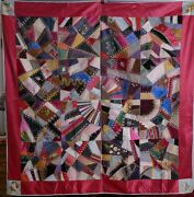 Antique American Ohio 1880 Crazy Quilt Silk Hand Embroidered Flowers Textile