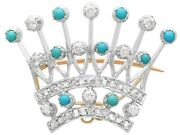 Antique Victorian 2.40ct Diamond And Turquoise, 12k Yellow Gold 'crown' Brooch