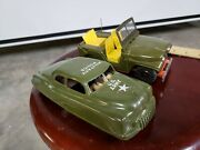 Vintage Tin Jeep And Car Made In Japan Friction Toy Linemar Plastic Police Car