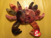 Rare Ty Beanie Baby Claude The Crab Tie Dyed 4083 L@@k Claw Fabric Dye Error