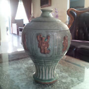 Chinese Celadon Biscuit Immortal Figures Meiping Large Vase